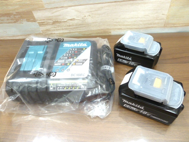 新品 マキタ Makita BL1860B 18v 6.0ah 残量表示付きバッテリー 2台 7.2-18V用 急速充電器 DC18RC 1台